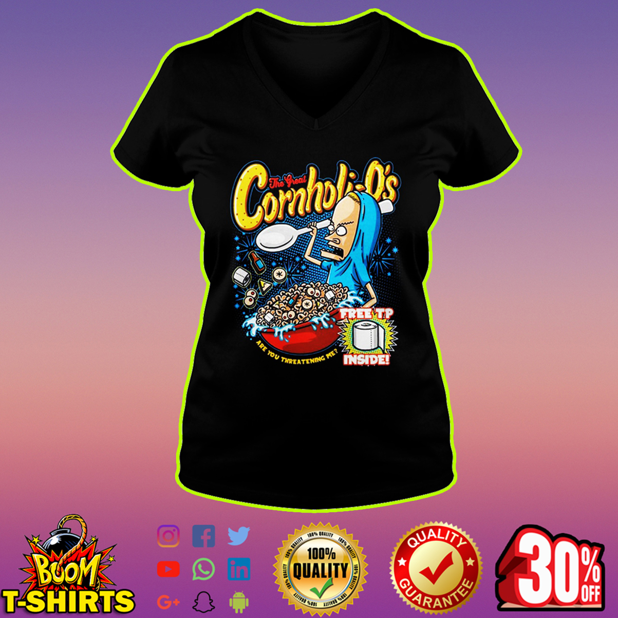 Beavis the great Cornholio free tp inside v-neck