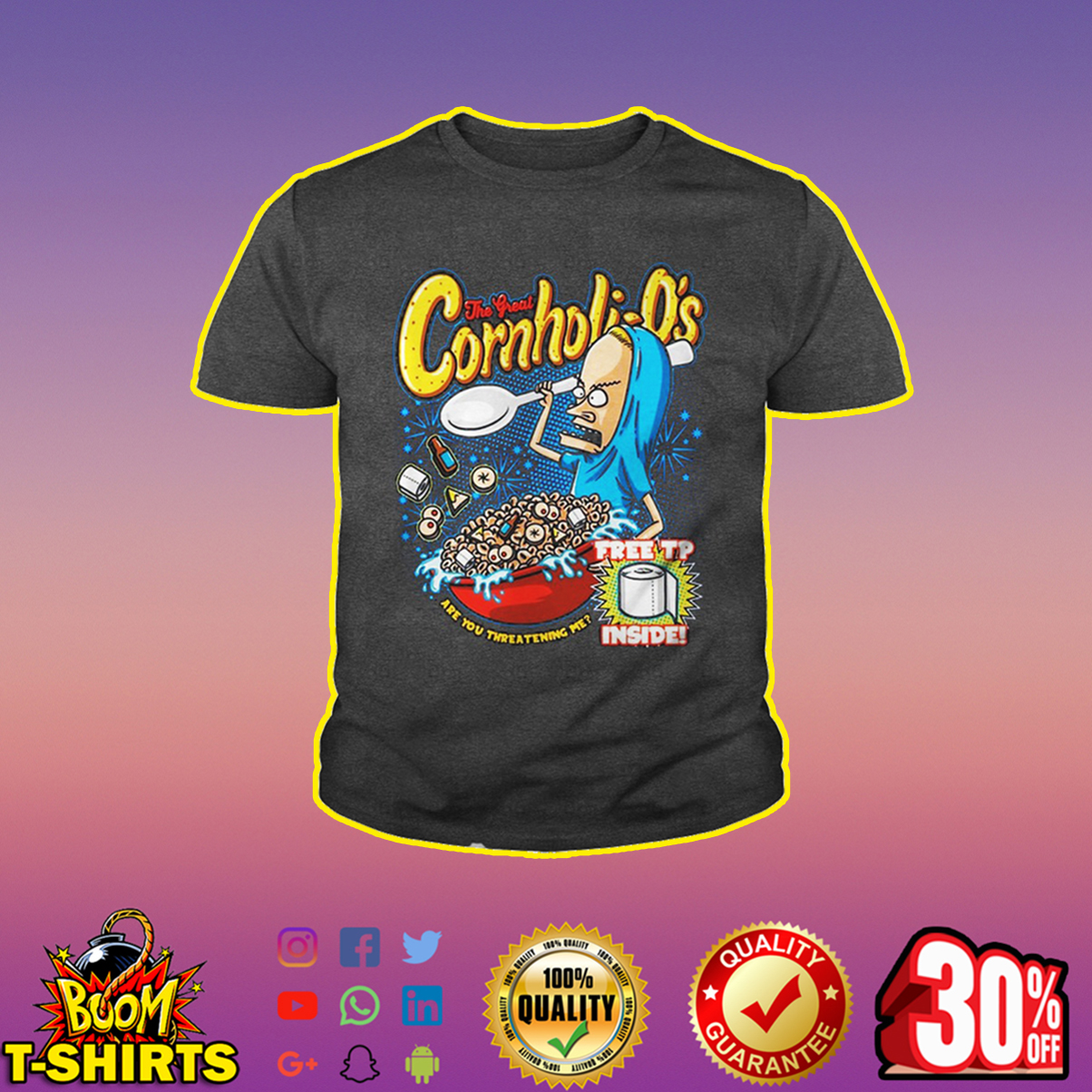Beavis the great Cornholio free tp inside youth tee