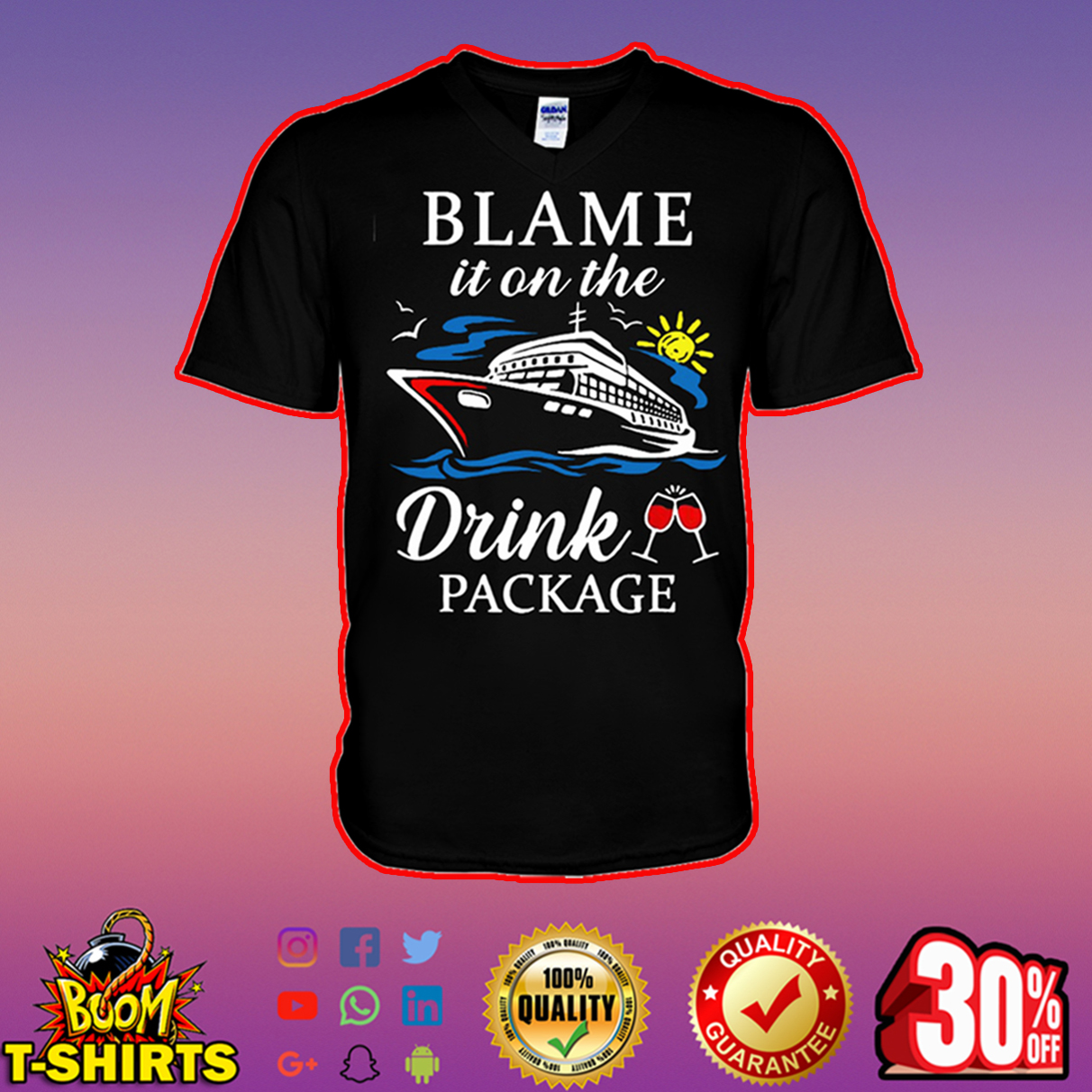 Blame it on the drink package v-neck