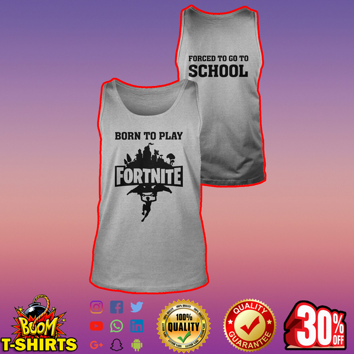 Born to play Fortnite forced to go to school tank top