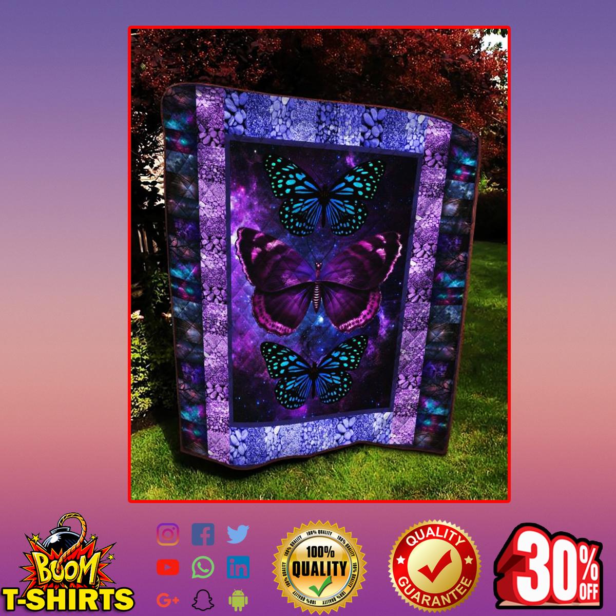 Butterflies galaxy quilt blanket - King