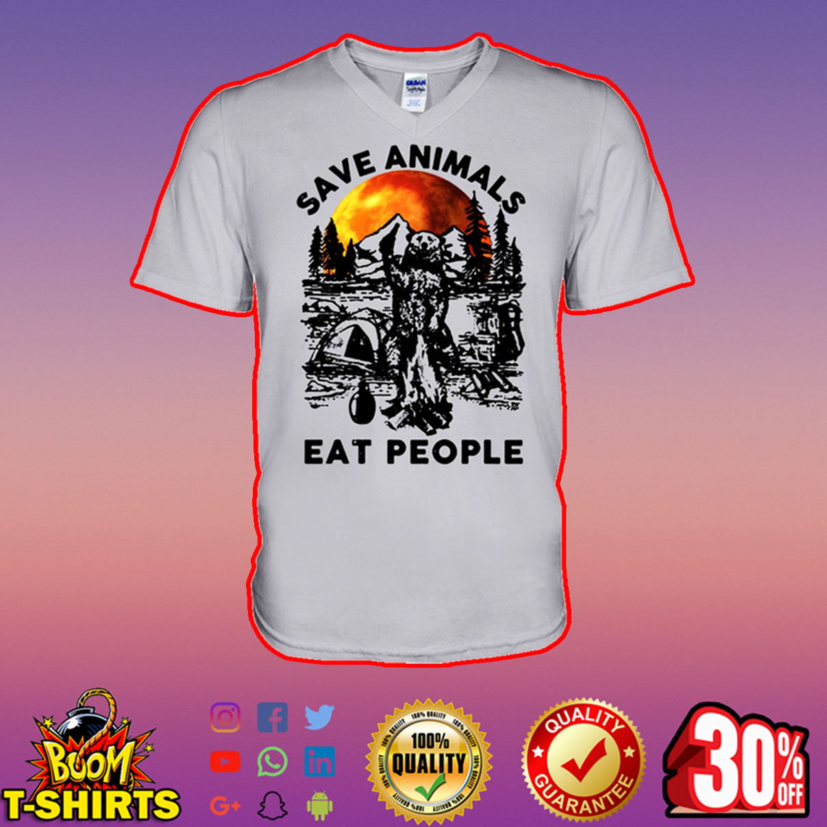 Camping bear save animals eat people v-neck