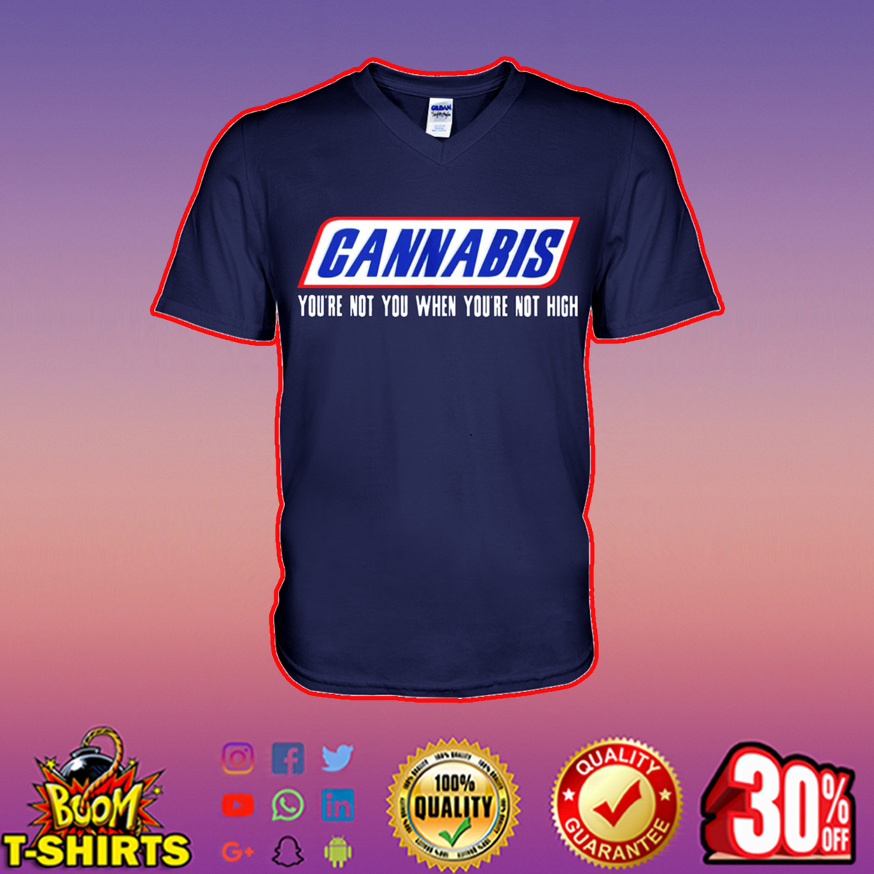 Cannabis you're not you when you're not high v-neck