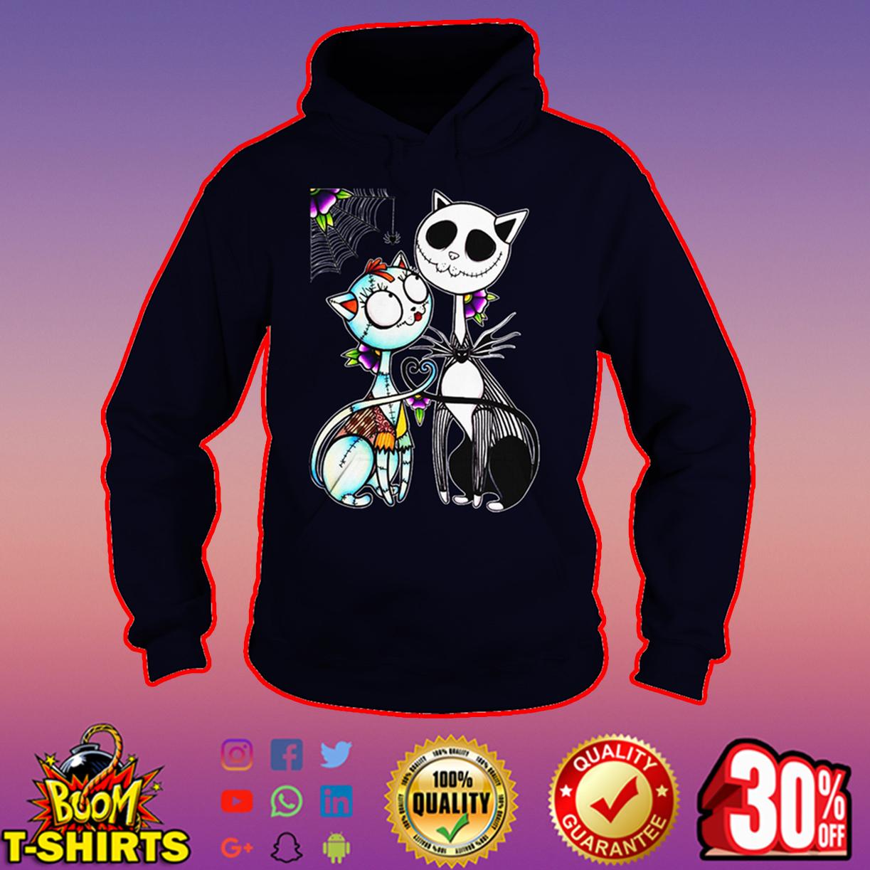Cat Jack Skellington and Sally hoodie