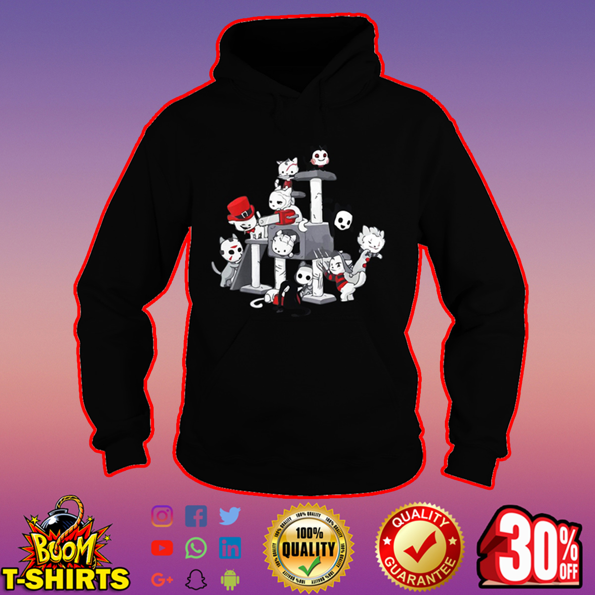 Cat horror movie characters hoodie