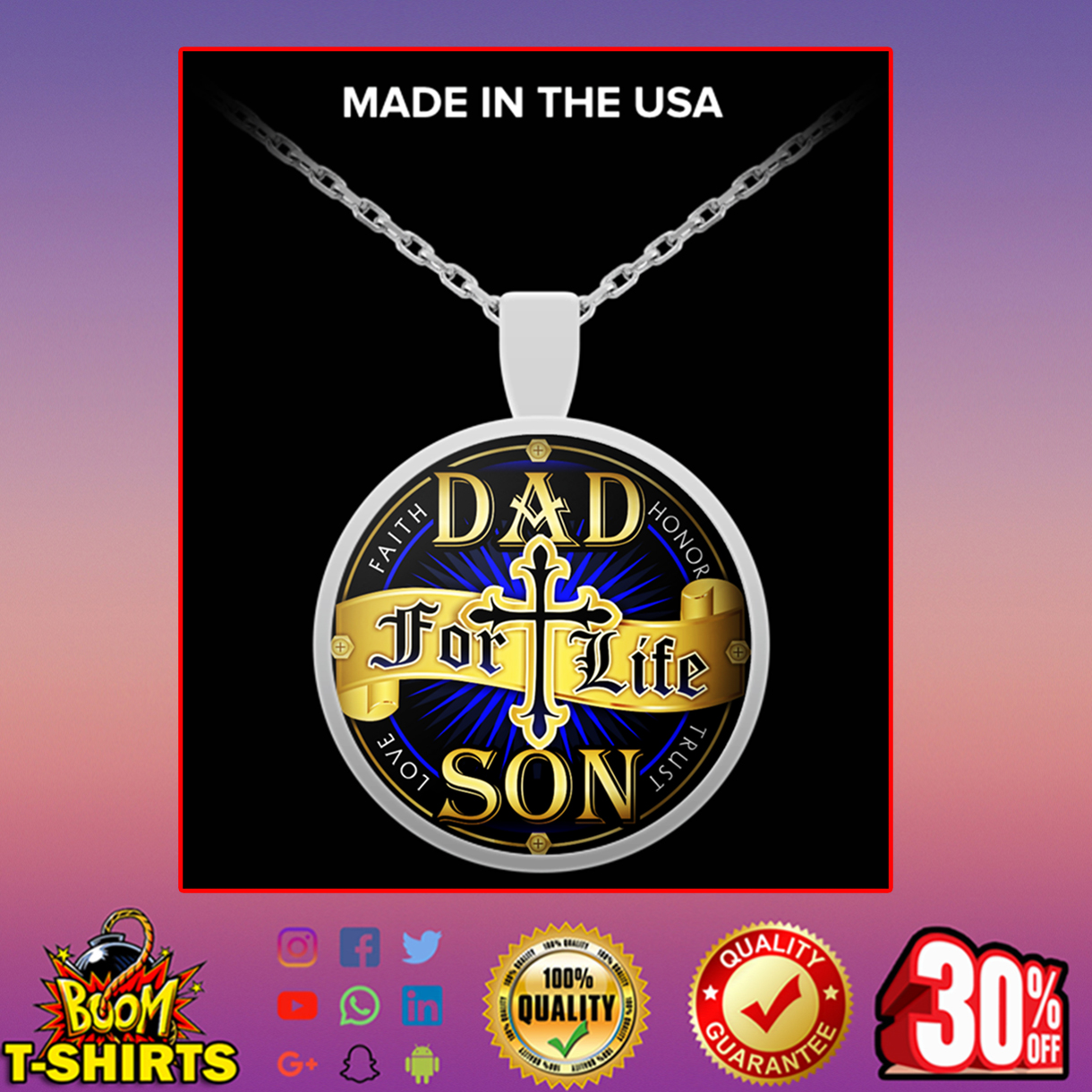 Dad for life son necklace - silver plated