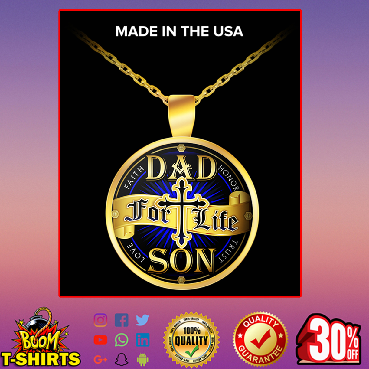 Dad for life son necklace