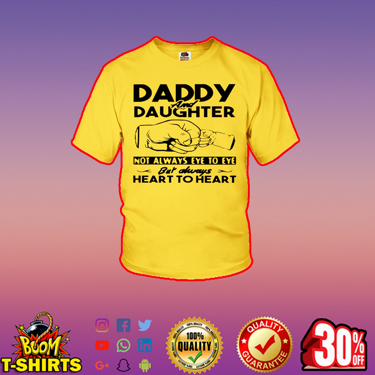 Daddy and Daughter not always eye to eye but always heart to heart youth t-shirt