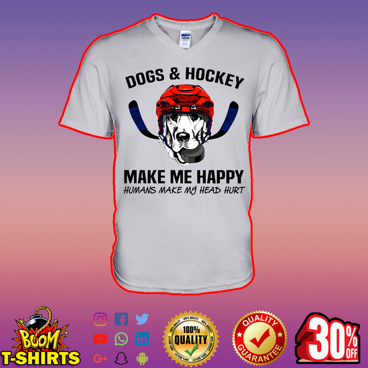 Dogs and hockey make me happy humans make my head hurt v-neck