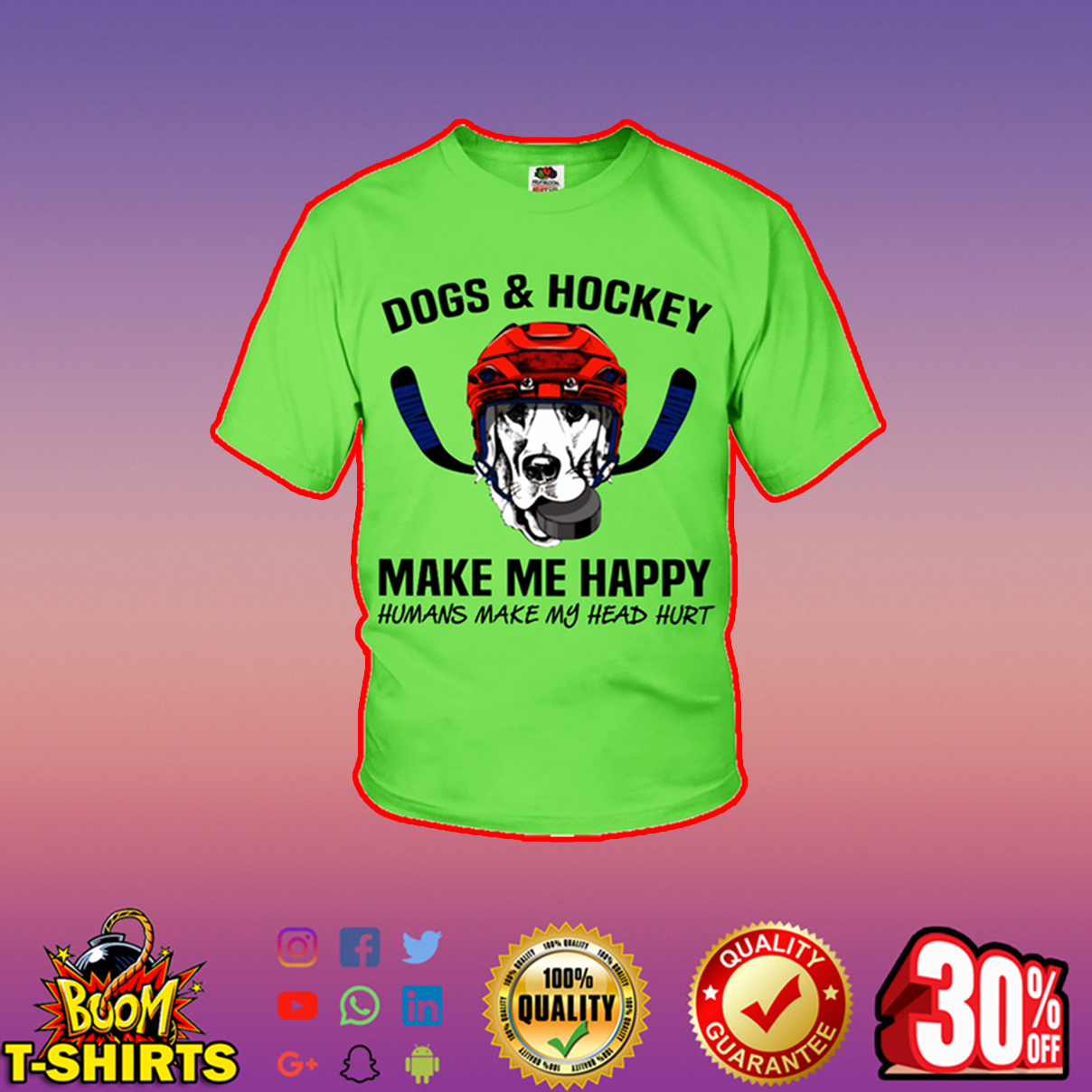 Dogs and hockey make me happy humans make my head hurt youth t-shirt