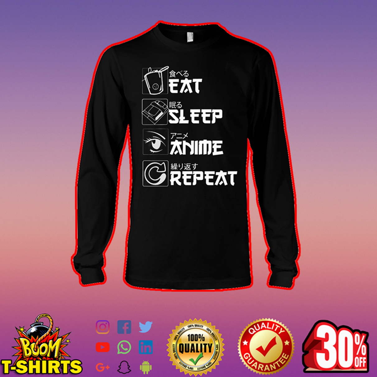 Eat sleep anime repeat long sleeve tee