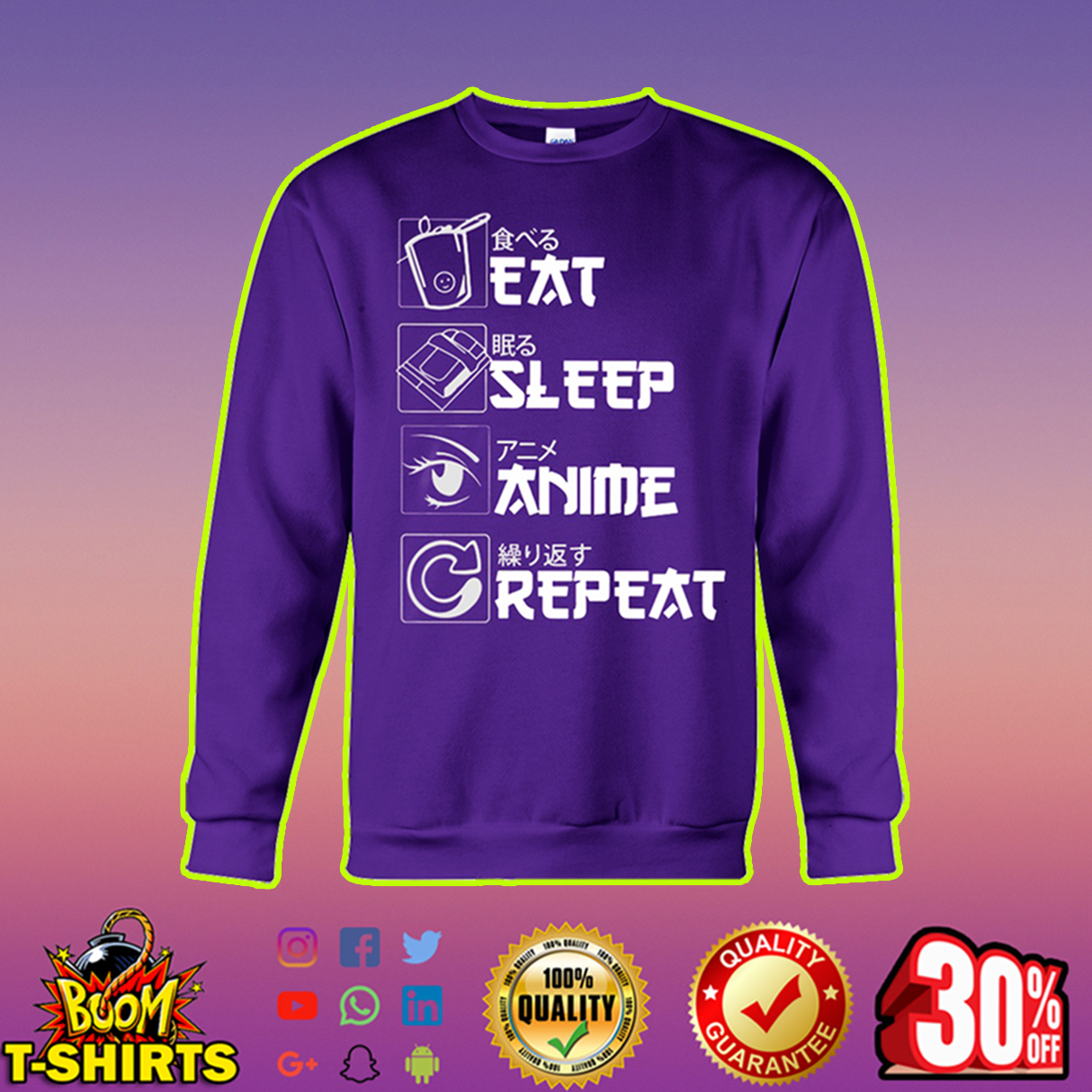 Eat sleep anime repeat sweatshirt