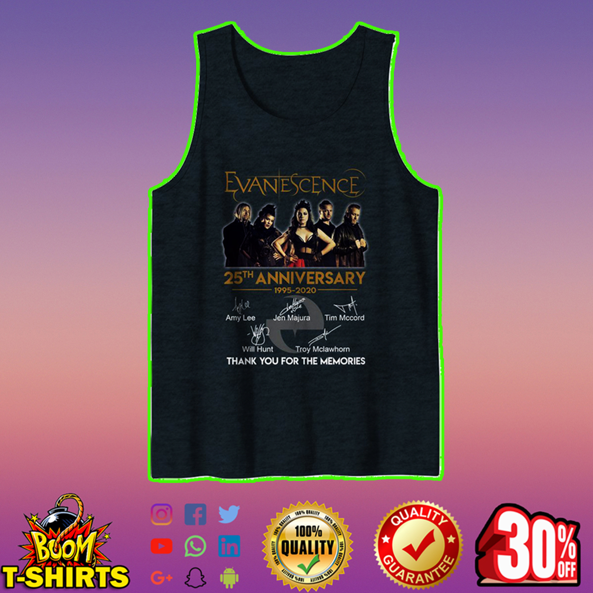 Evanescence 25th anniversary thank you for the memories tank top