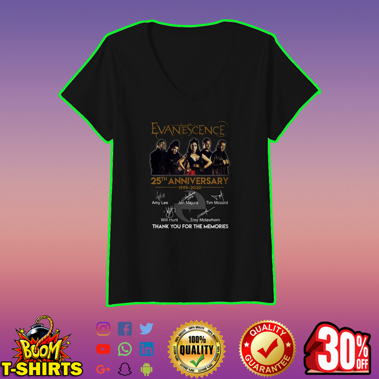 Evanescence 25th anniversary thank you for the memories v-neck