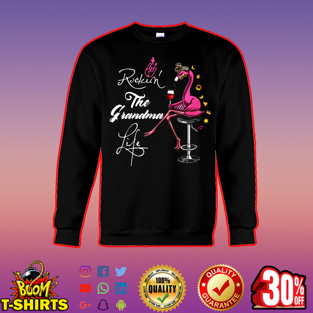 Flamingo rockin' the grandma life sweatshirt