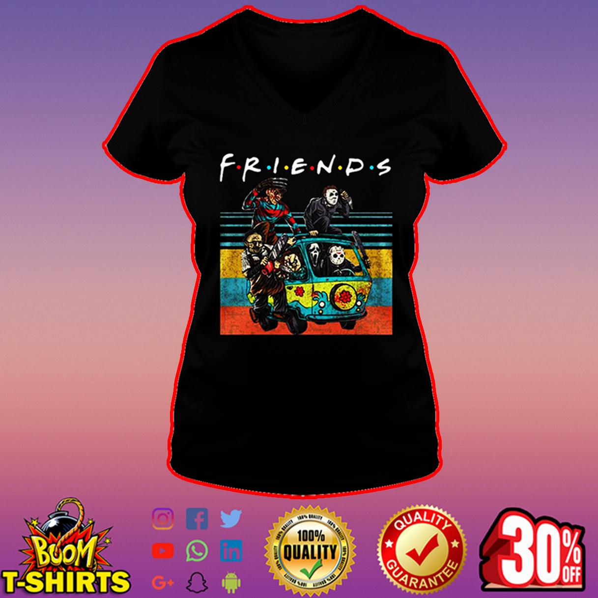 Freddy Krueger Michael Myers Leatherface Chucky Ghostface Jason Voorhees friends v-neck
