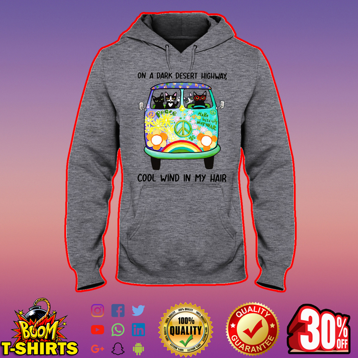 Hippie cat on a dark desert highway cool wind in my hair hooded sweatshirt