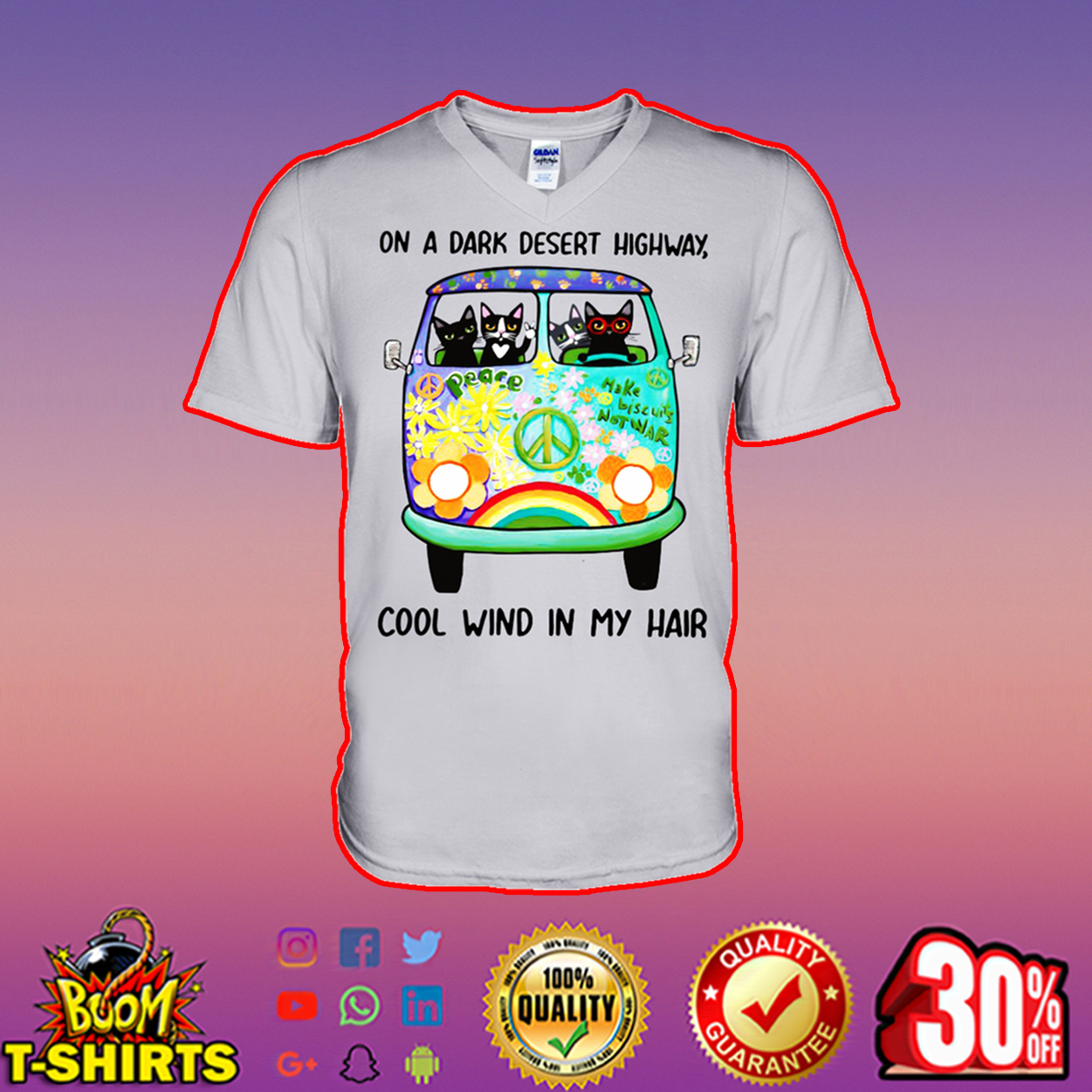 Hippie cat on a dark desert highway cool wind in my hair v-neck