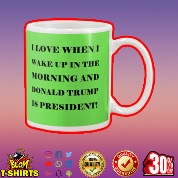 I love when I wake up in the morning and Donald Trump is president mug - kiwi