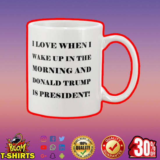 I love when I wake up in the morning and Donald Trump is president mug