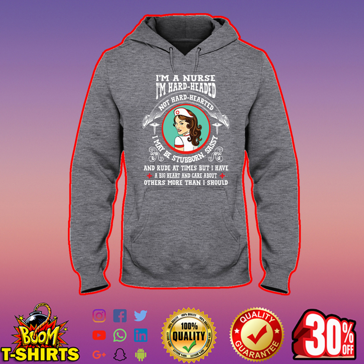 I'm a nurse I'm hard header not hard hearted hooded sweatshirt