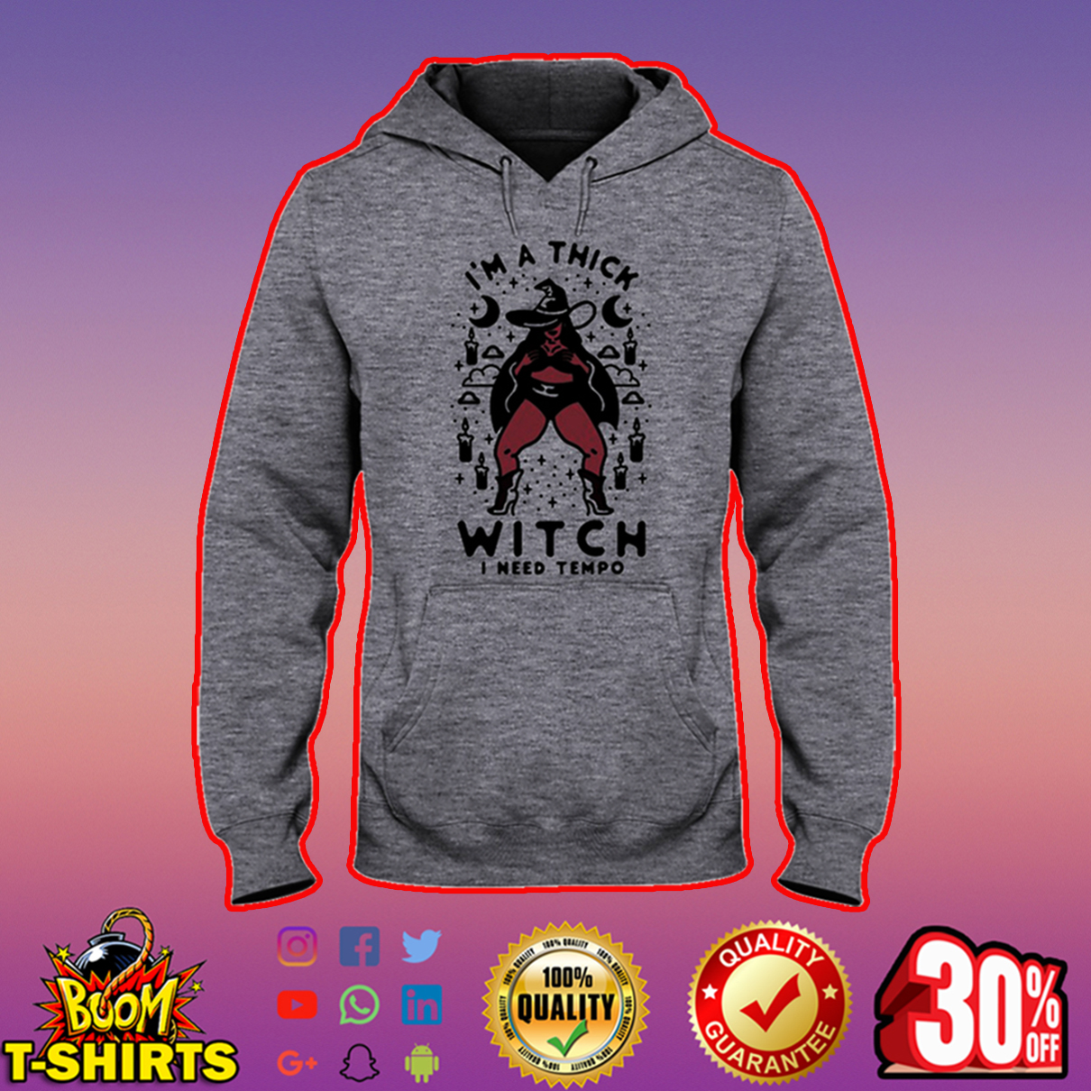 I'm a thick witch I need tempo hooded swewatshirt