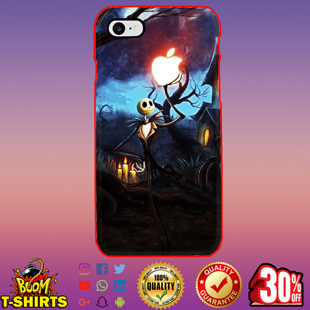Jack Skellington holding Apple phone case - iphone 7 case