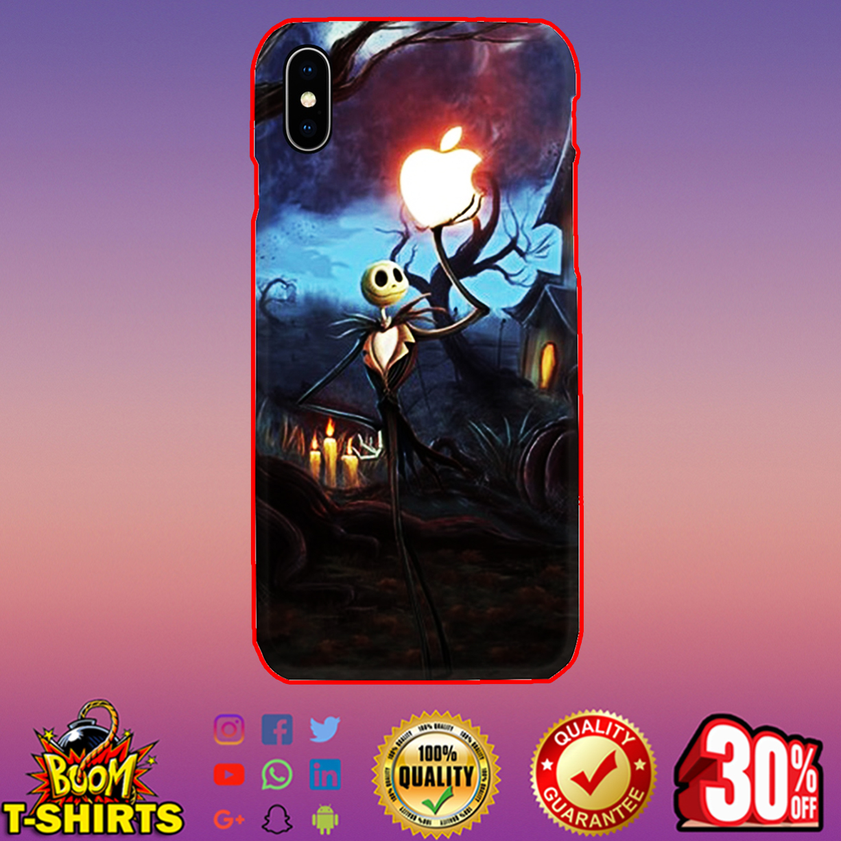Jack Skellington holding Apple phone case - iphone X case