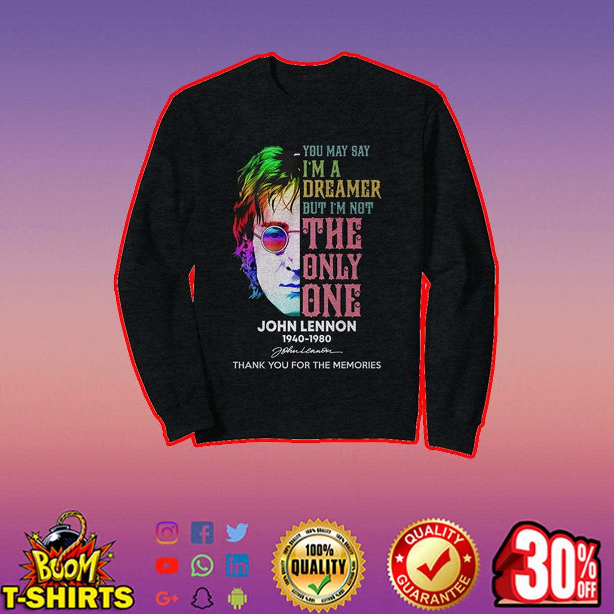 John Lennon thank you for the memories sweatshirt