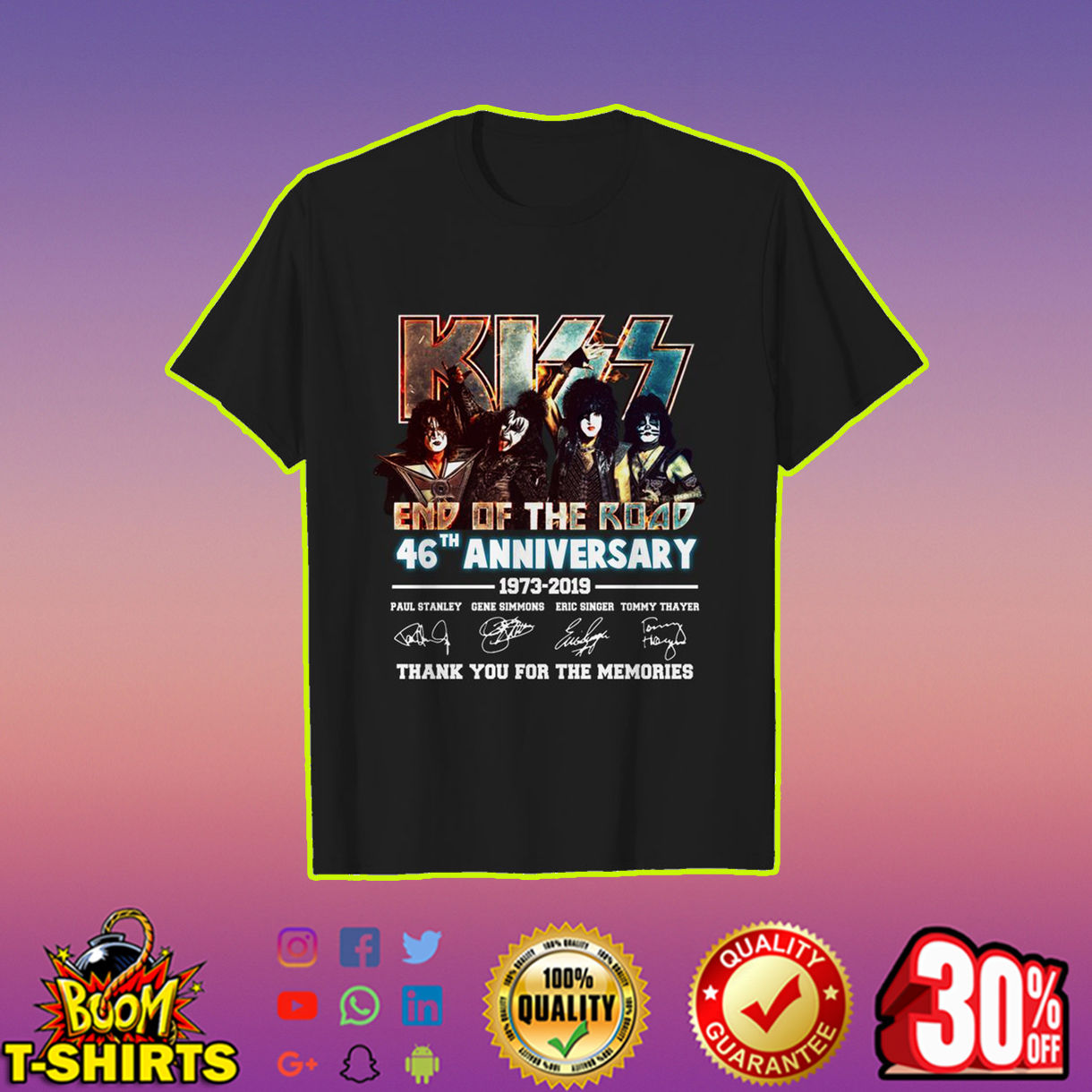 Kiss end of the road 46th anniversary shirt