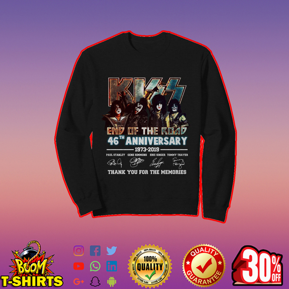 Kiss end of the road 46th anniversary sweatshirt