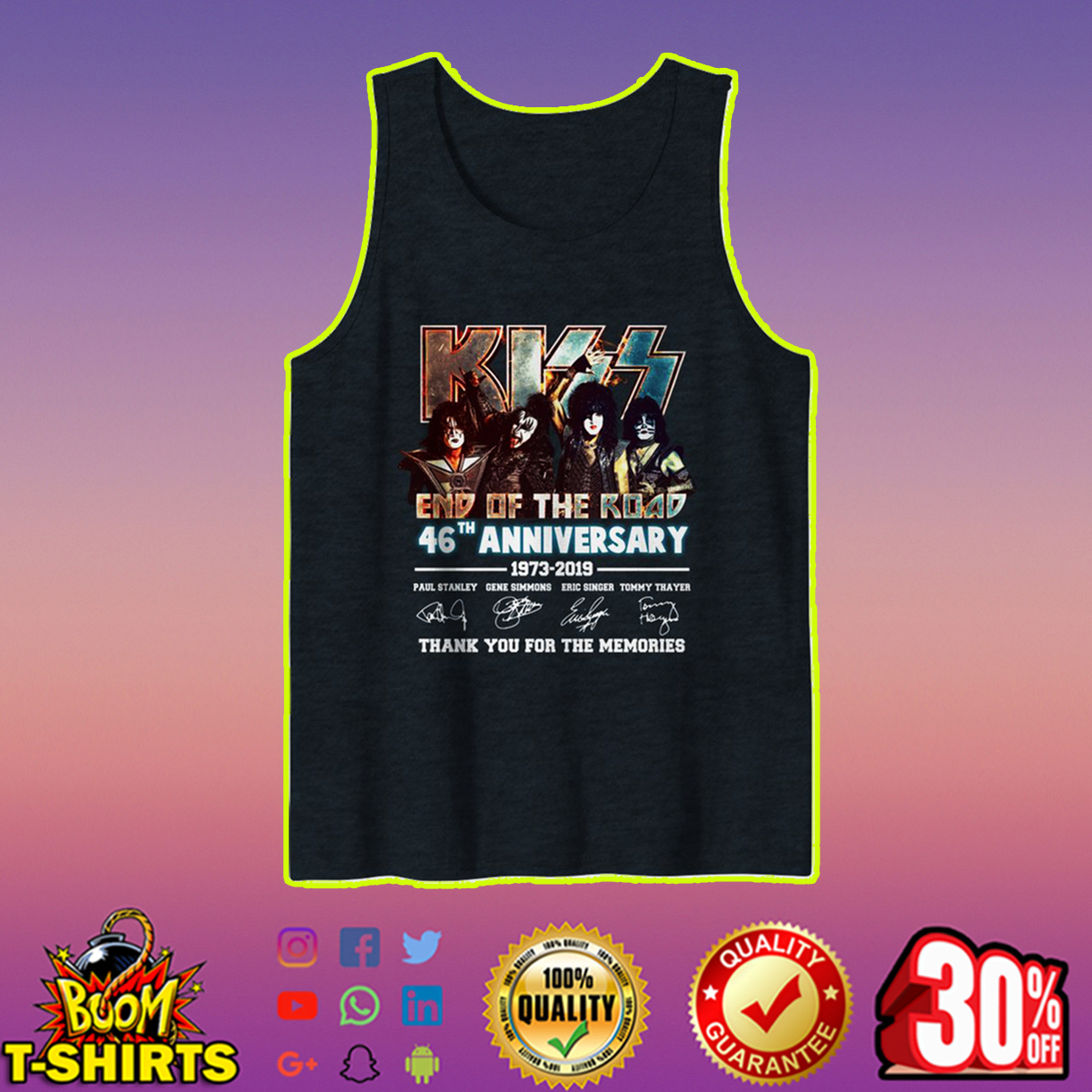 Kiss end of the road 46th anniversary tank top