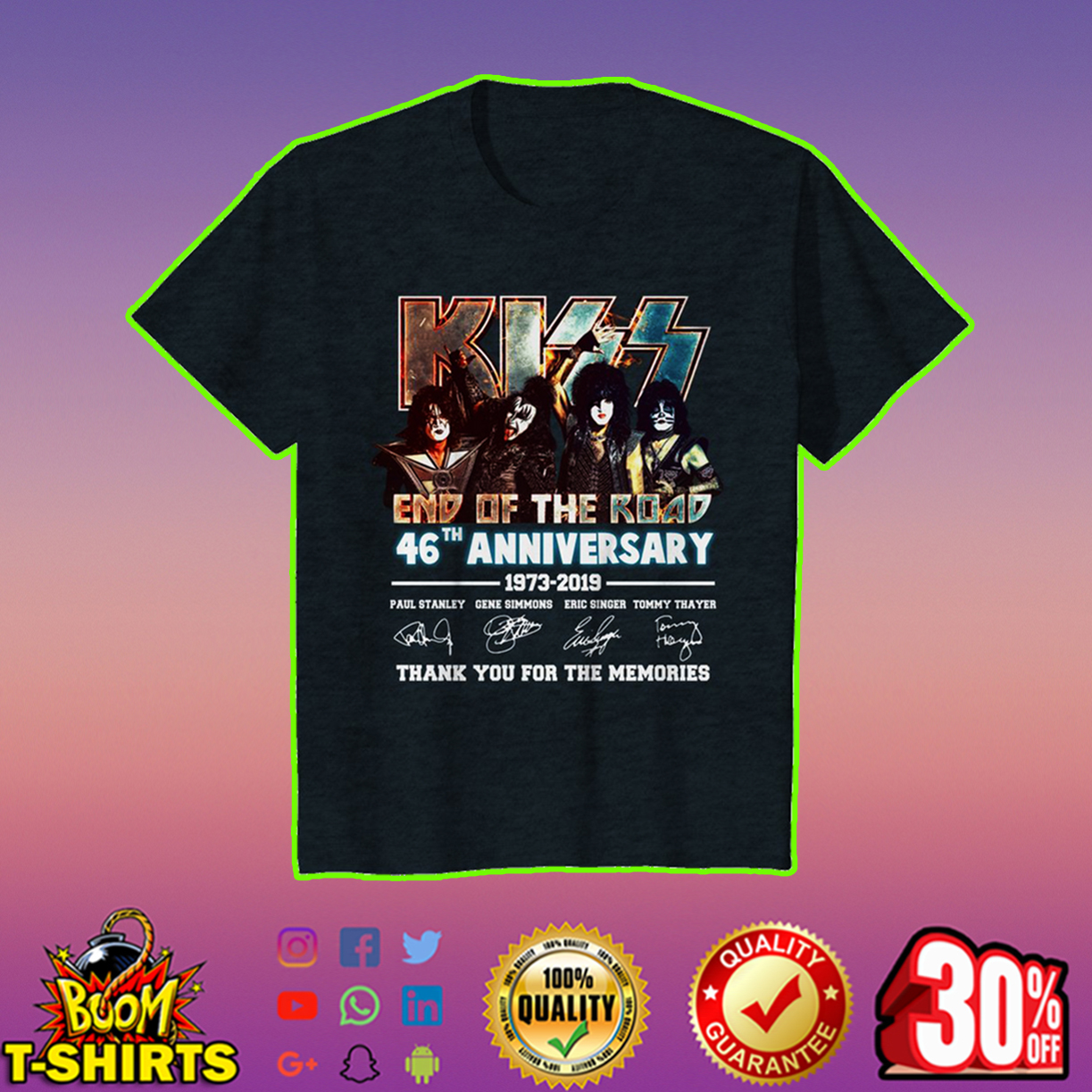 Kiss end of the road 46th anniversary youth tee