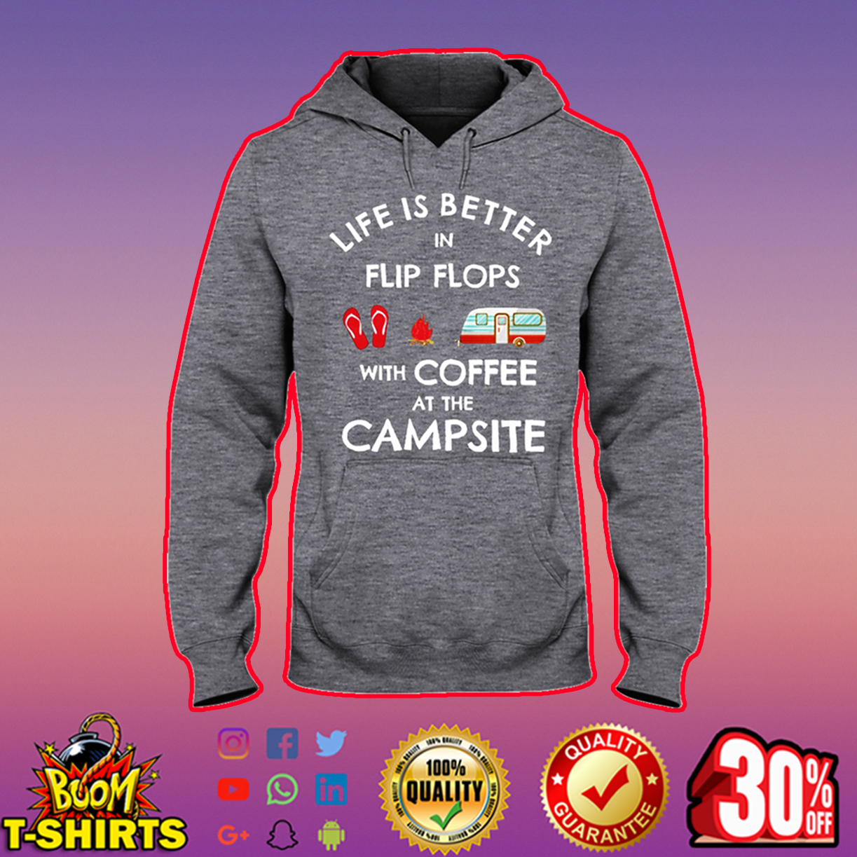Life is better in flip flops with coffee at the campsite hooded sweatshirt