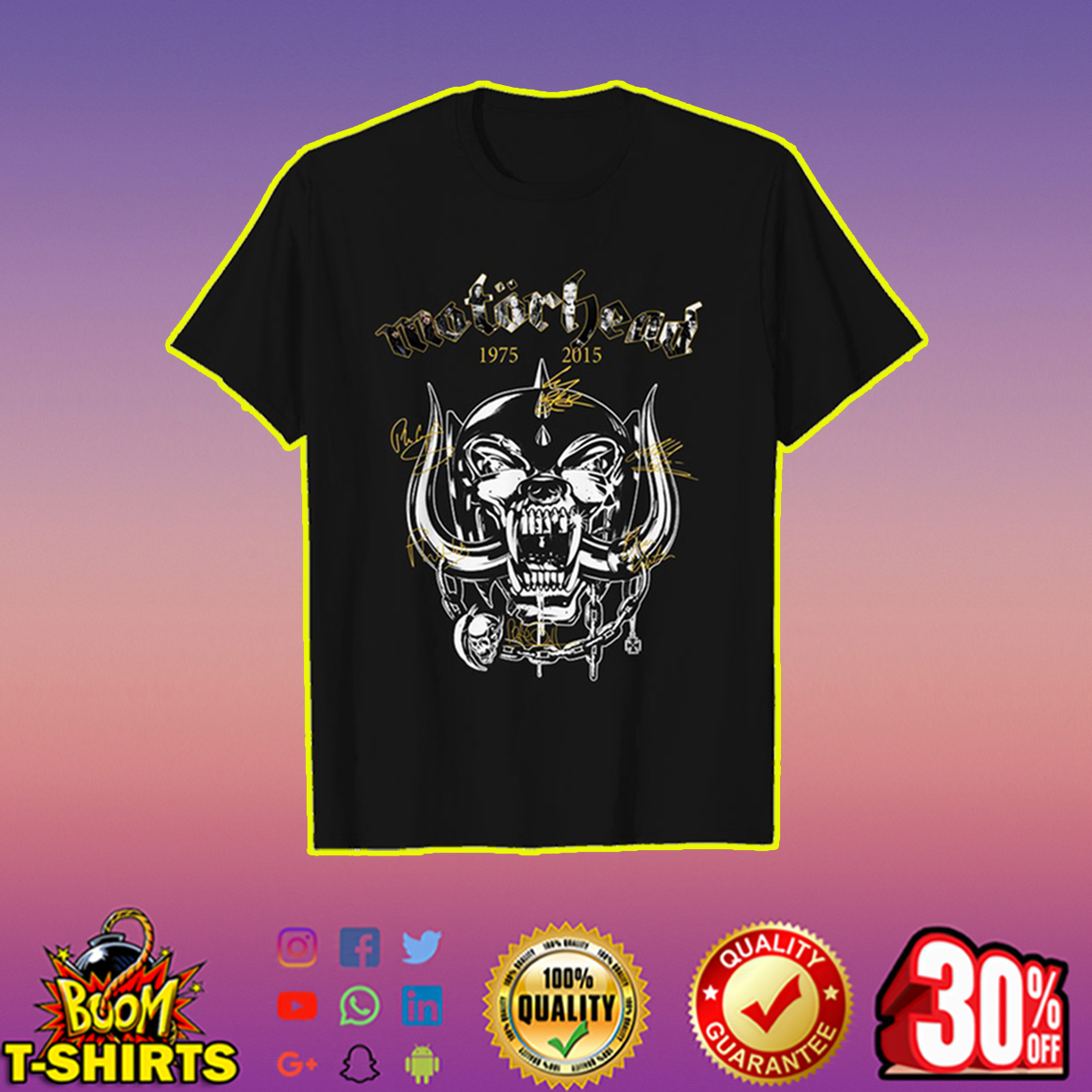 Motorhead 1975 2015 signature shirt