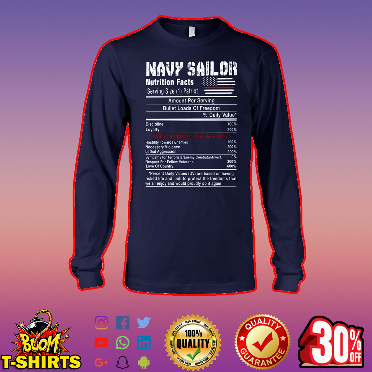 Navy sailor nutrition facts long sleeve tee