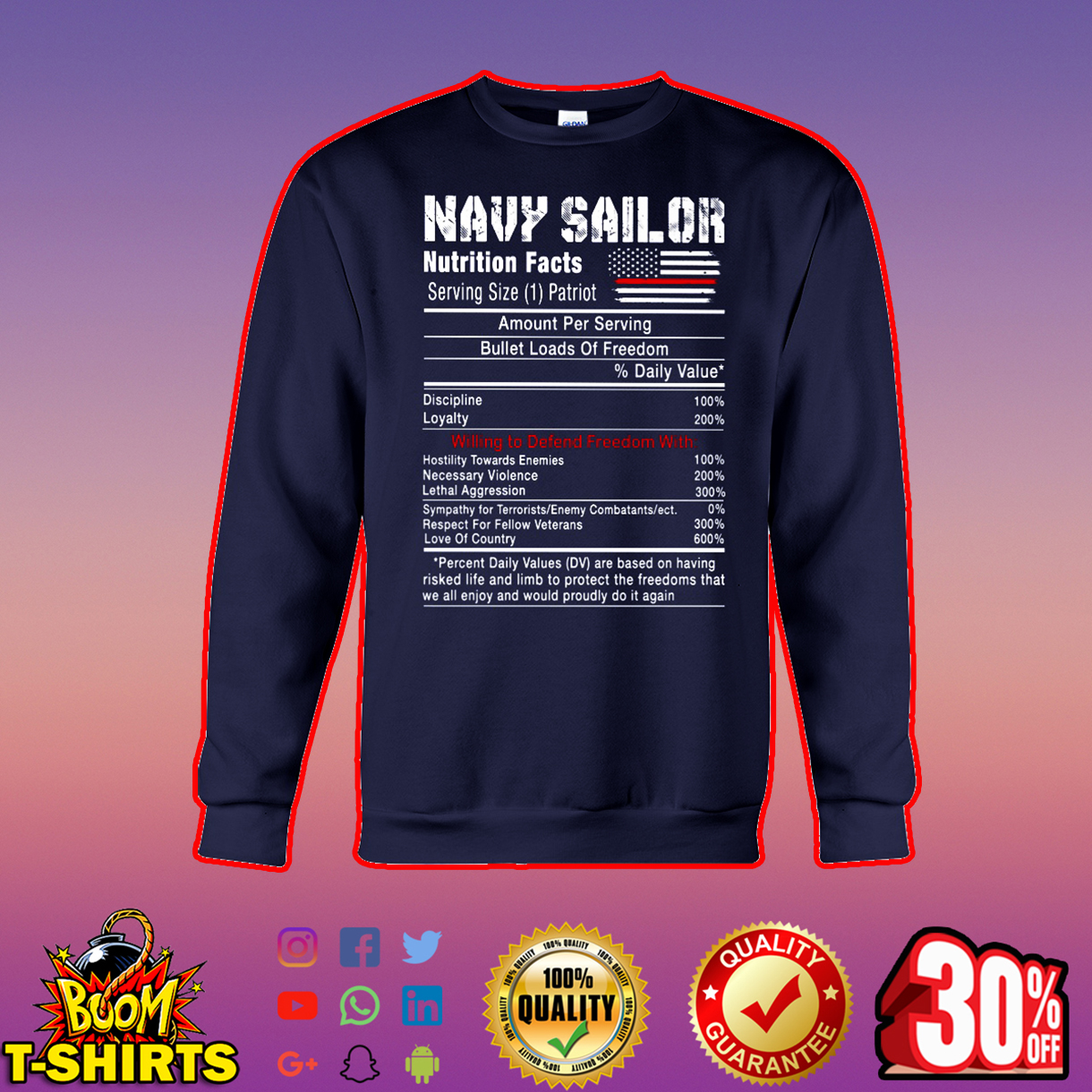 Navy sailor nutrition facts sweatshirt