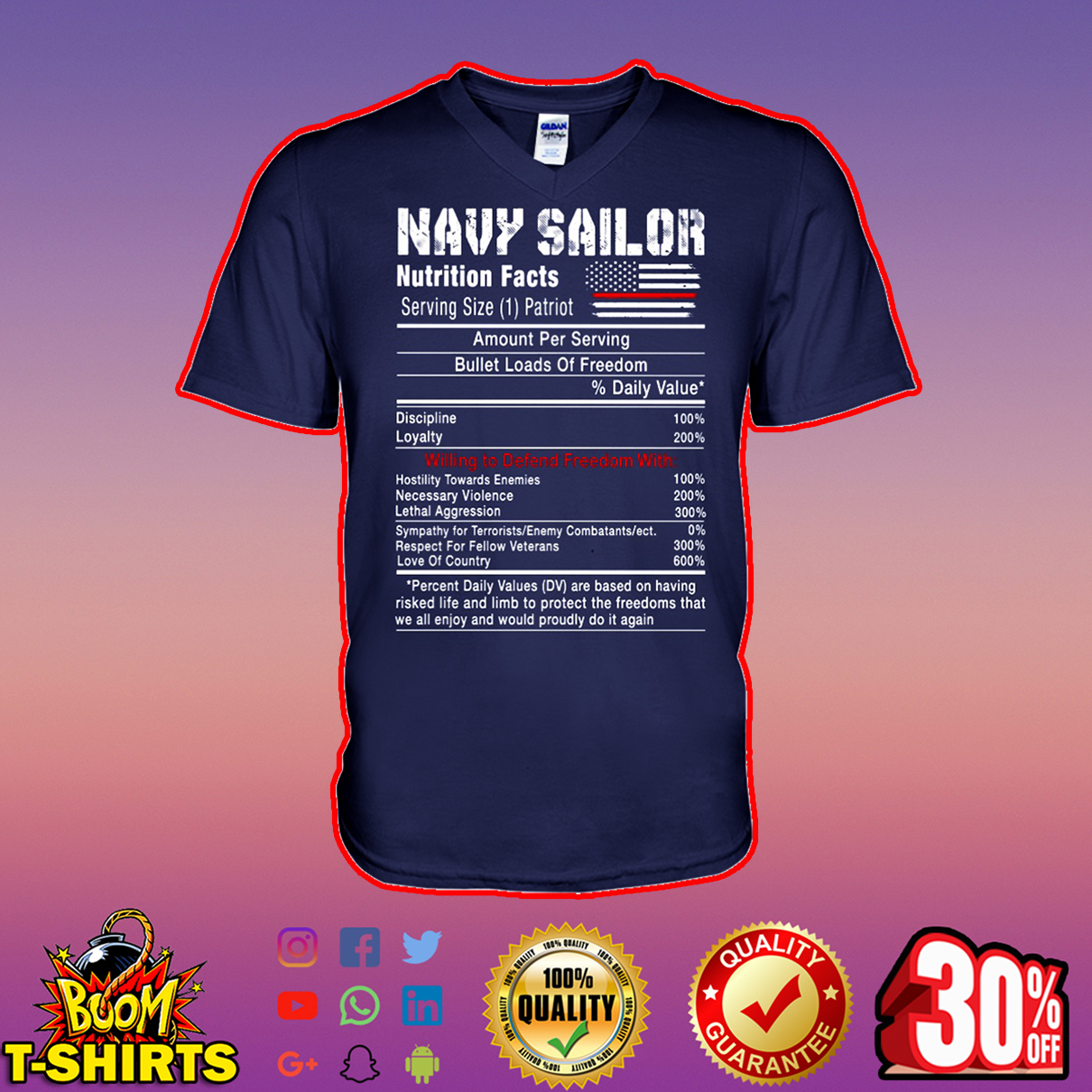 Navy sailor nutrition facts v-neck