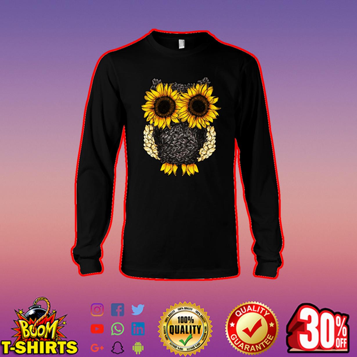 Owl sunflower long sleeve tee