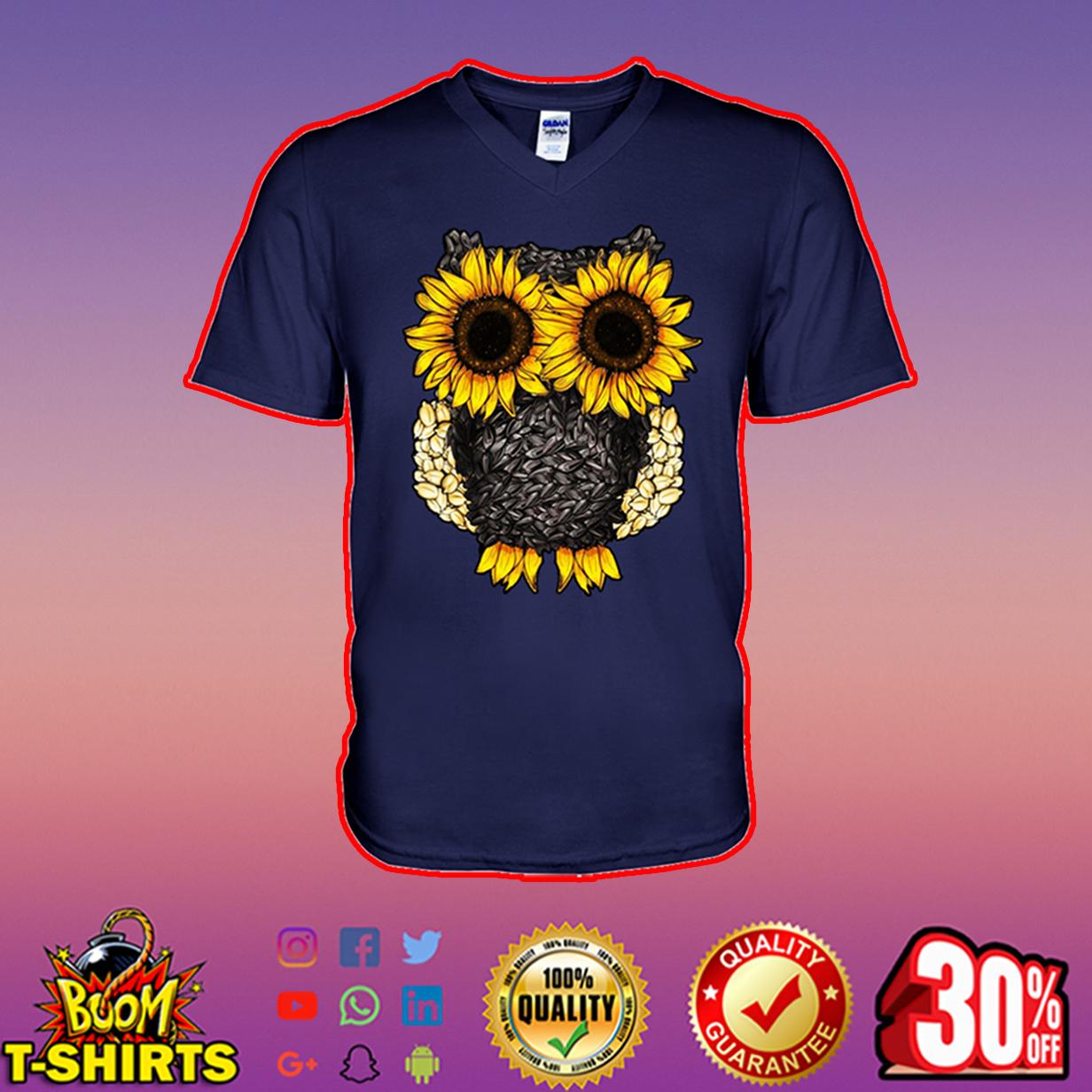 Owl sunflower v-neck