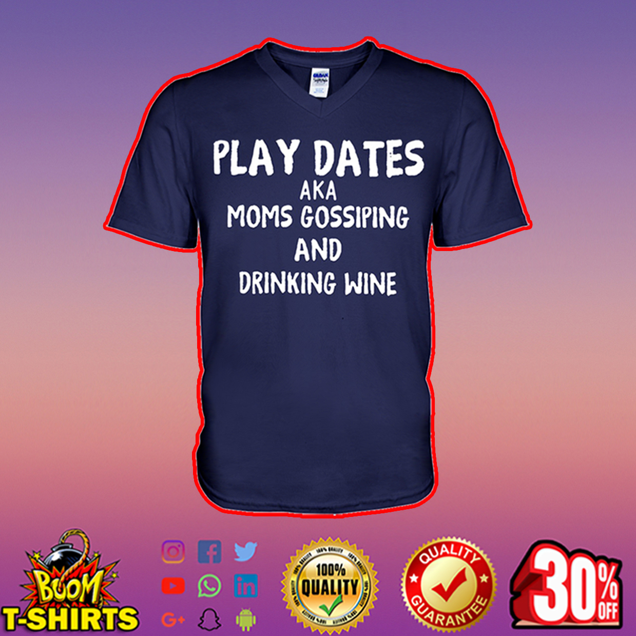 Play dates aka moms gossiping and drinking wine v-neck