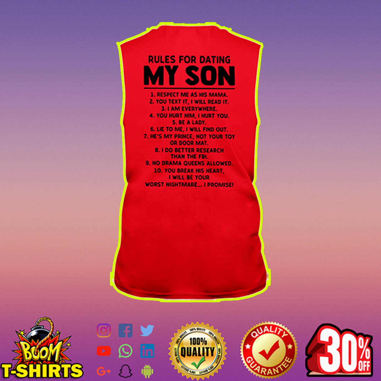 Rules for dating my son sleeveless tee