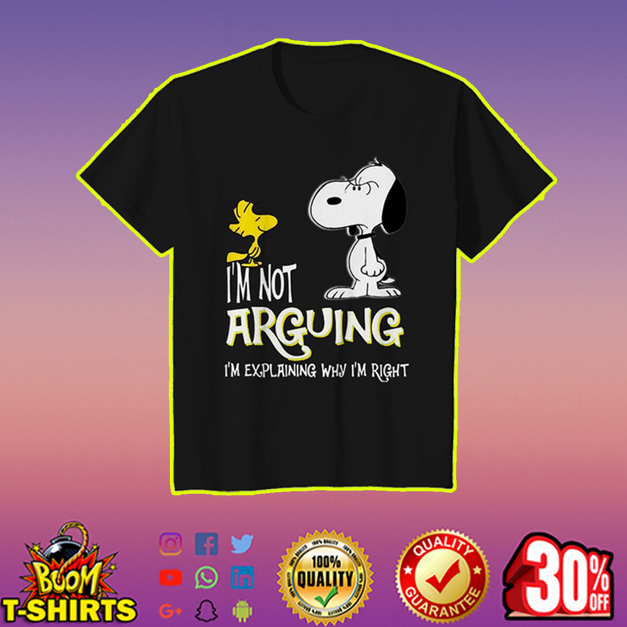 Snoopy and Woodstock I'm not arguing youth tee