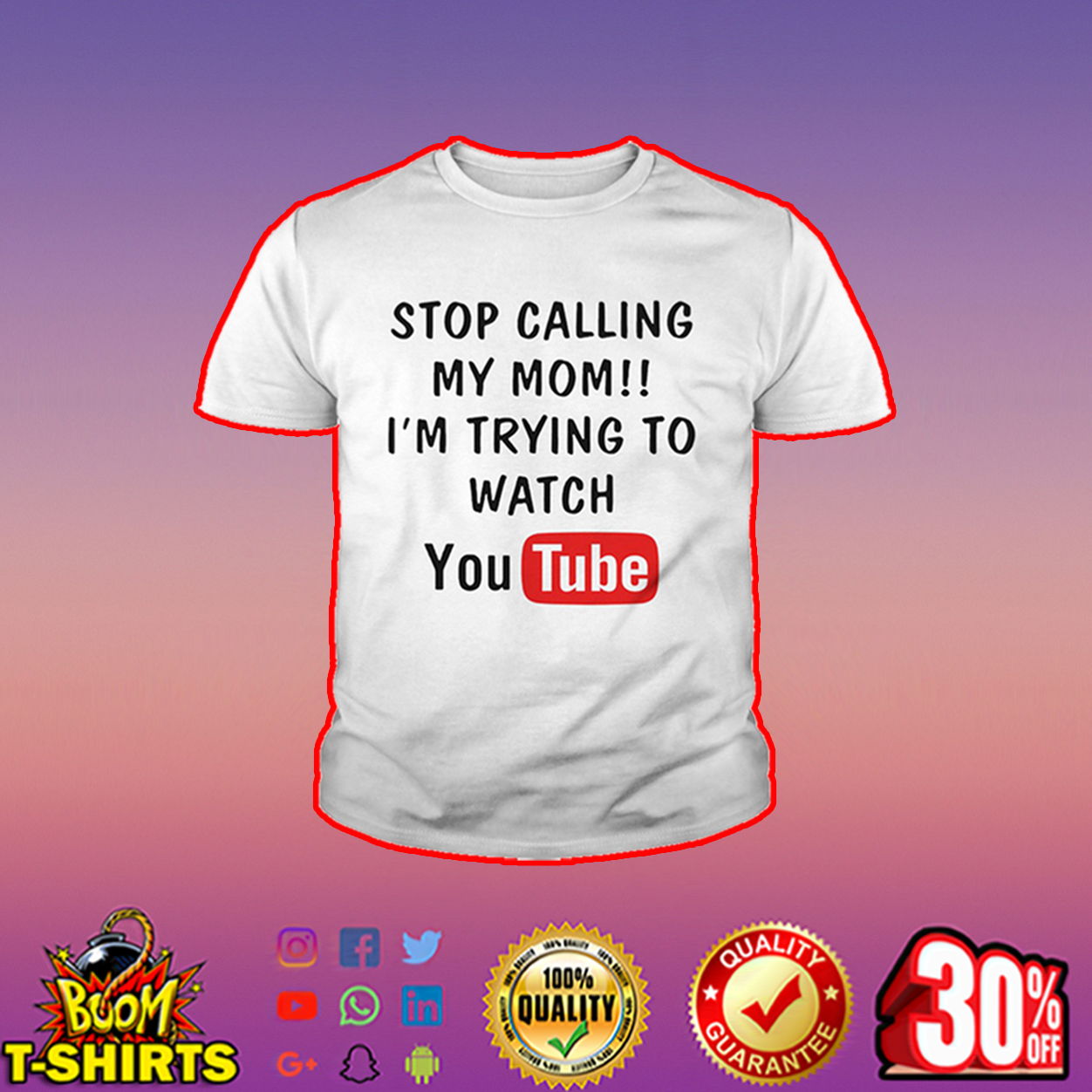 Stop calling my mom I'm trying to watch youtube youth tee - white