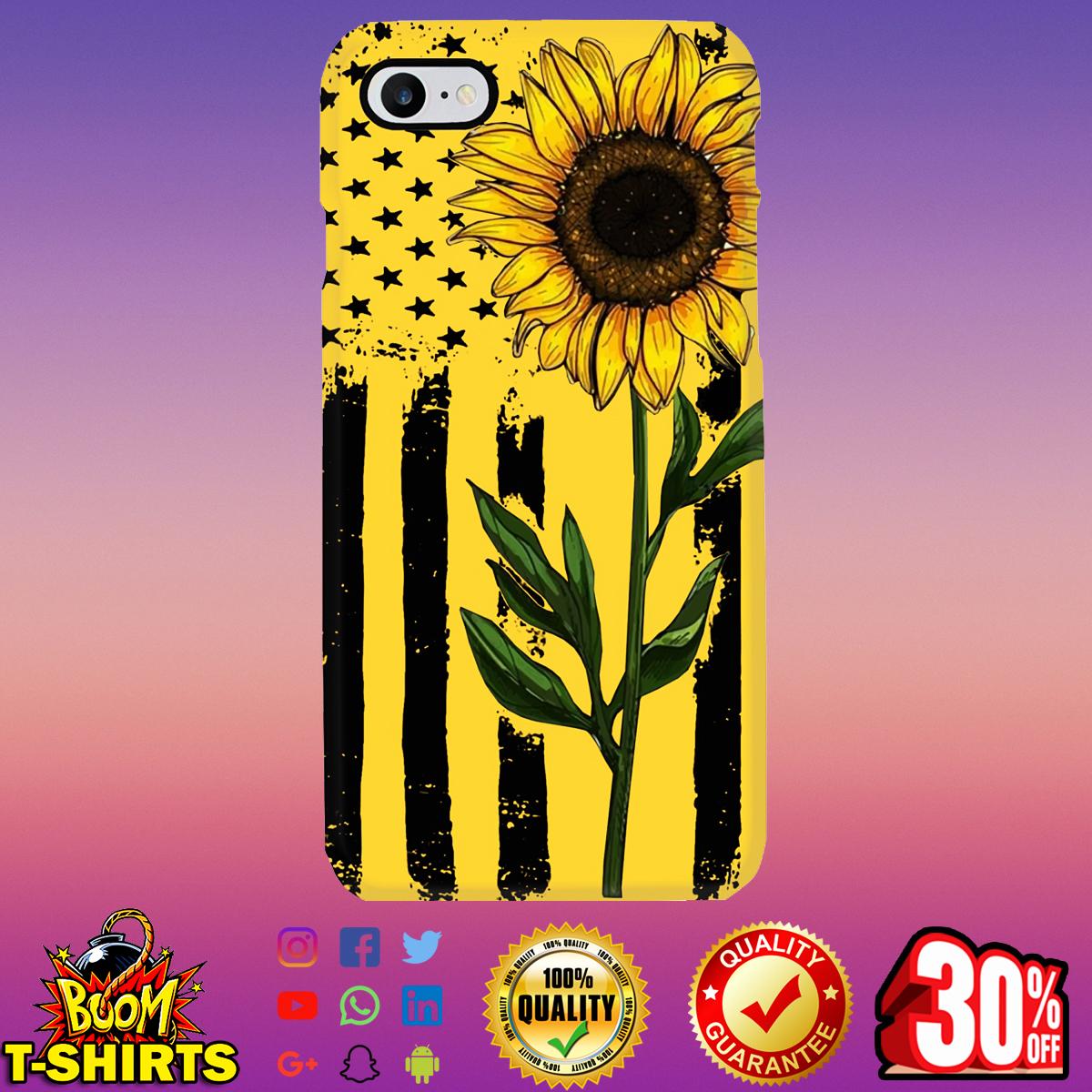 Sunflower American Flag phone case