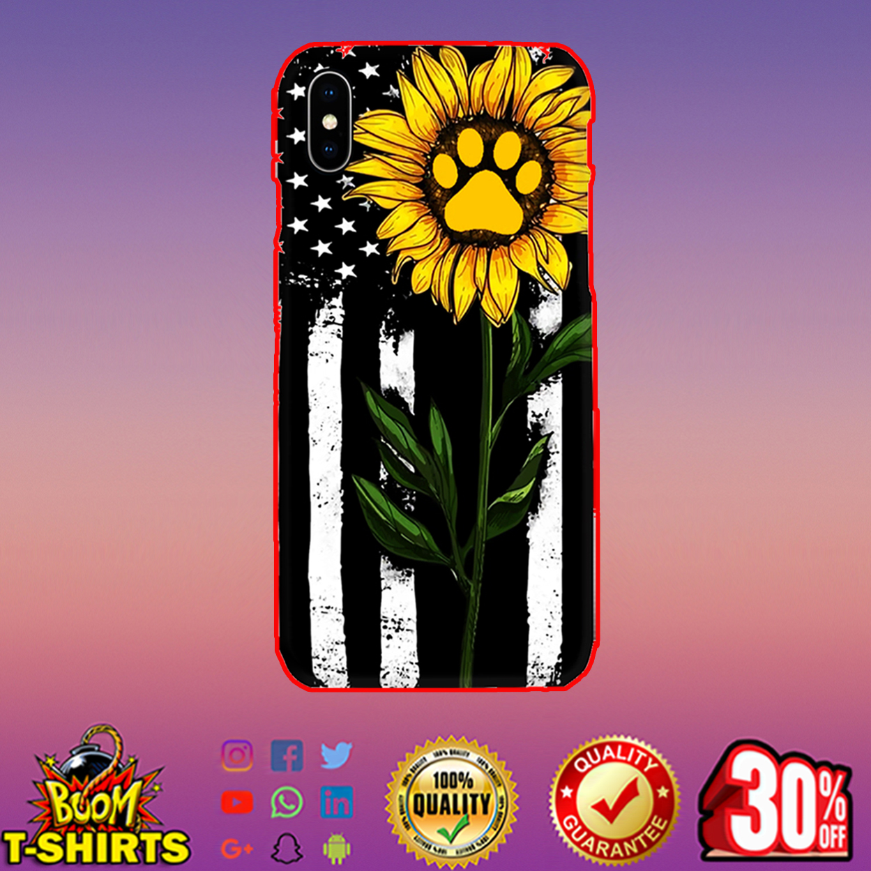 Sunflower American flag paw phone case - iphone X case