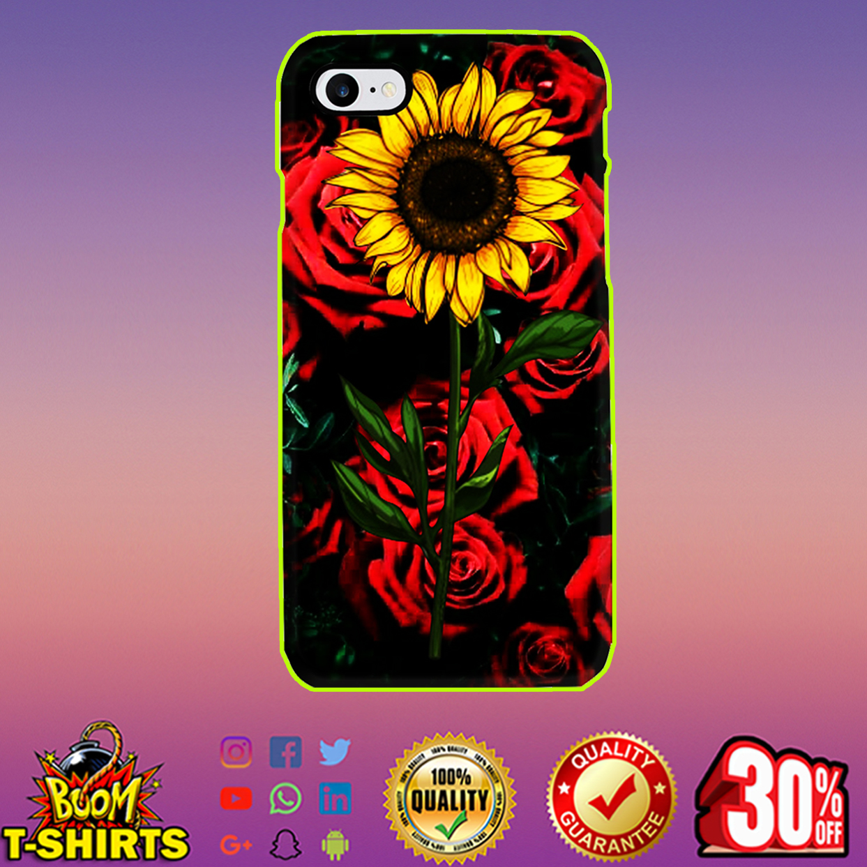 Sunflower and roses phone case - iphone 8 case