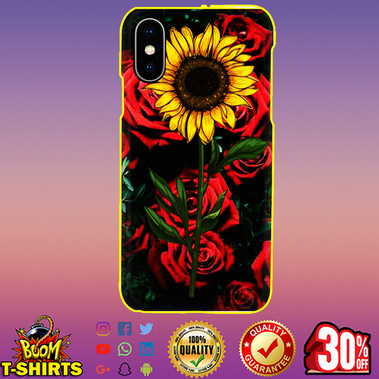 Sunflower and roses phone case - iphone XS case