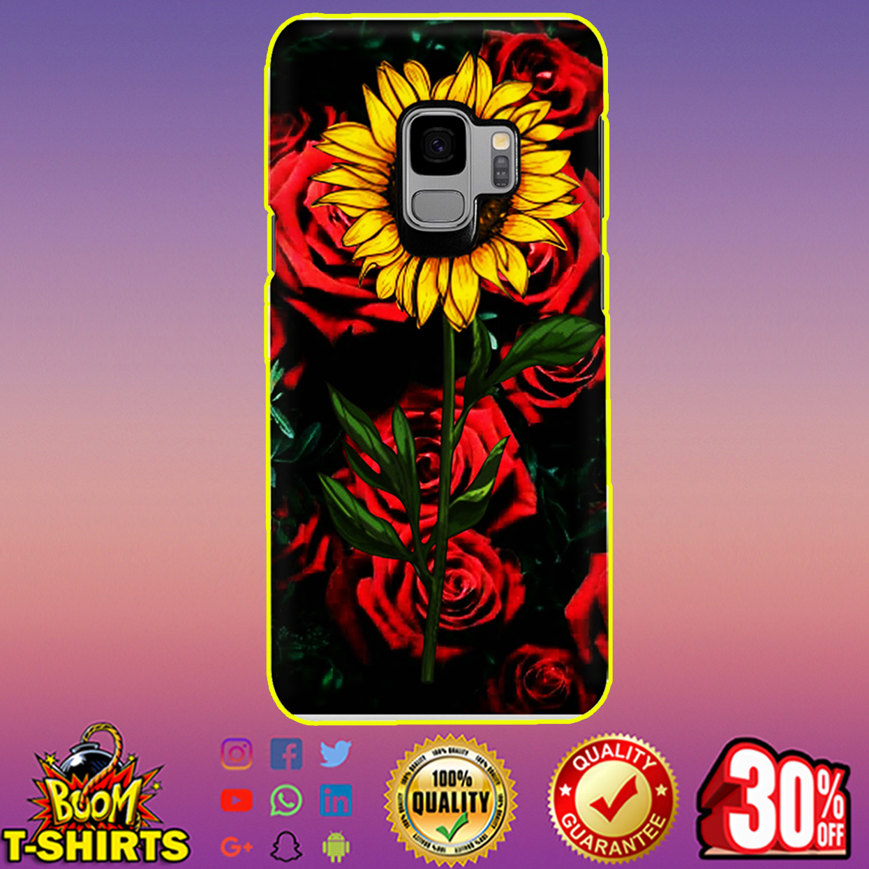 Sunflower and roses phone case - samsung galaxy S9 case