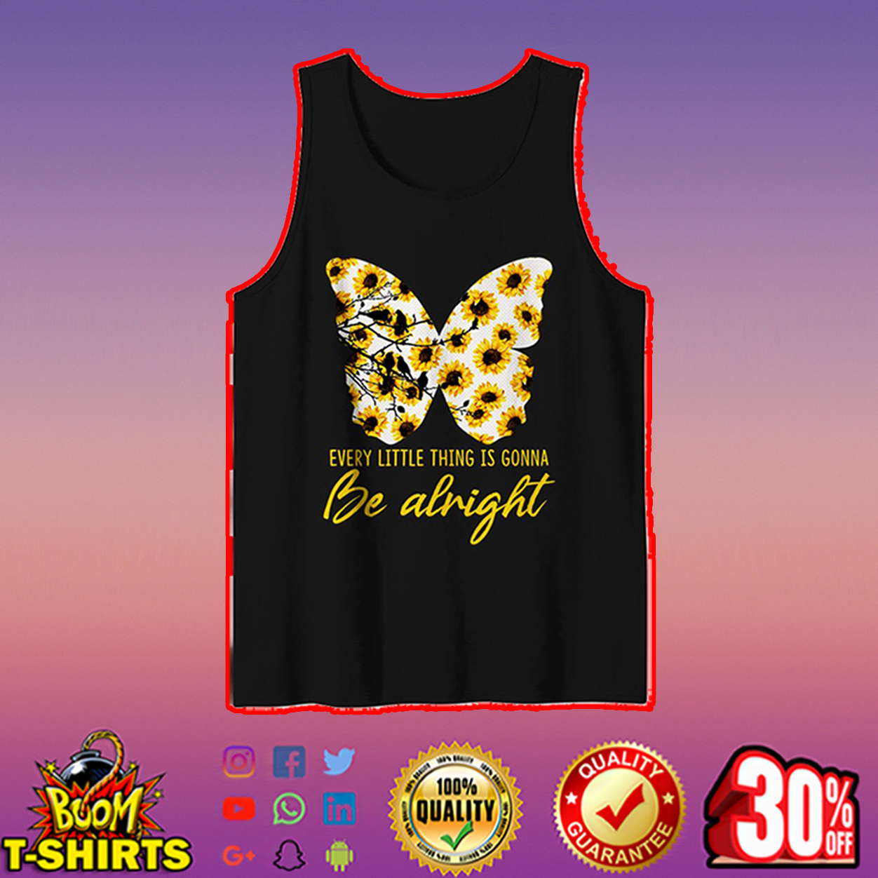 Sunflower butterfly every little thing is gonna be alright tank top